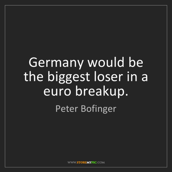 Peter Bofinger: Germany would be the biggest loser in a euro breakup.