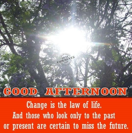 Good afternoon change is the law of life