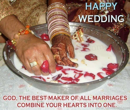 Happy wedding god the beat maker of all marriages combine your hearts into one