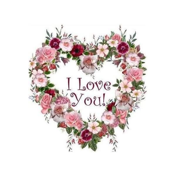 I love you flower wreath