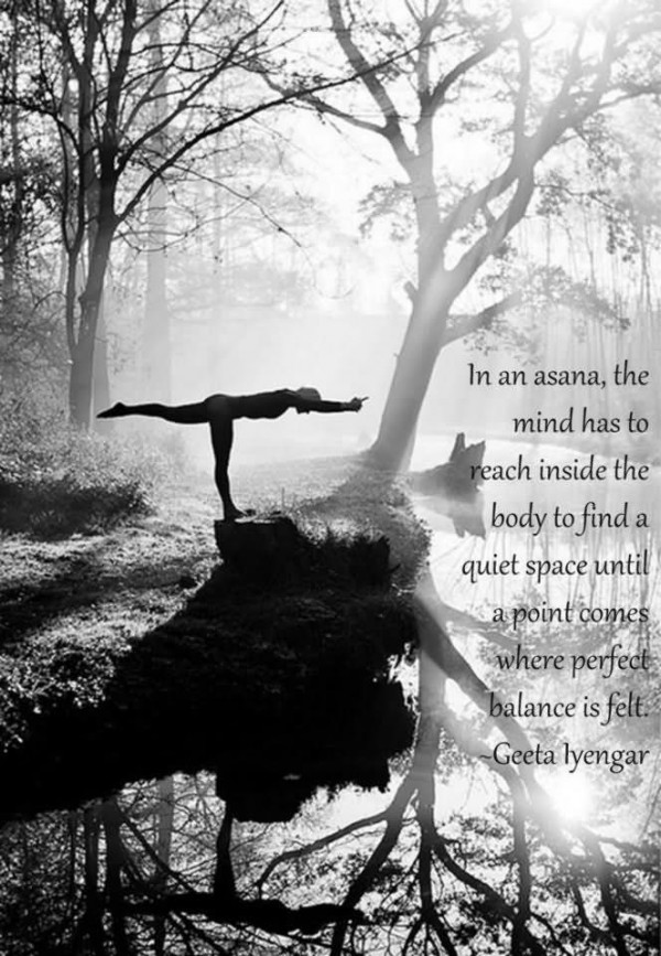 In an asana teh mind has to reach inside the body to find a quiet space until