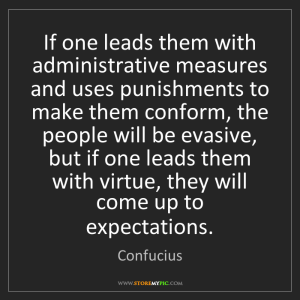 Confucius: If one leads them with administrative measures and uses...