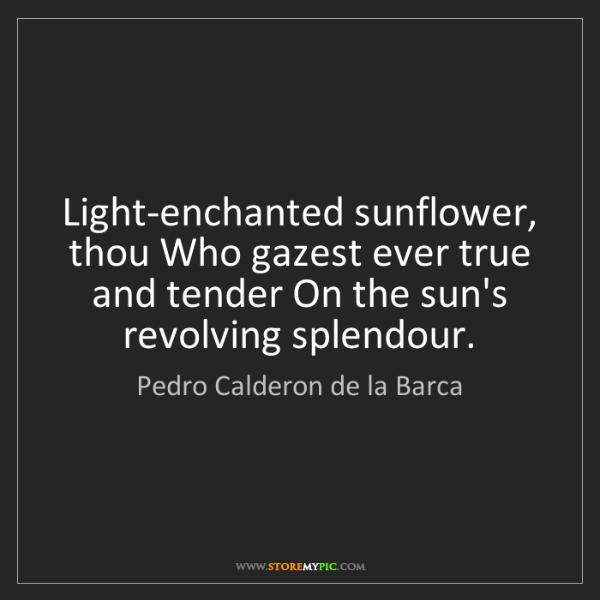 Pedro Calderon de la Barca: Light-enchanted sunflower, thou Who gazest ever true...