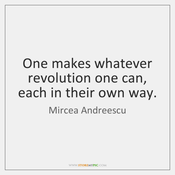 One makes whatever revolution one can, each in their own way.