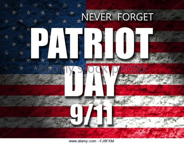 Never forget patriot day 9 11 american flag in background
