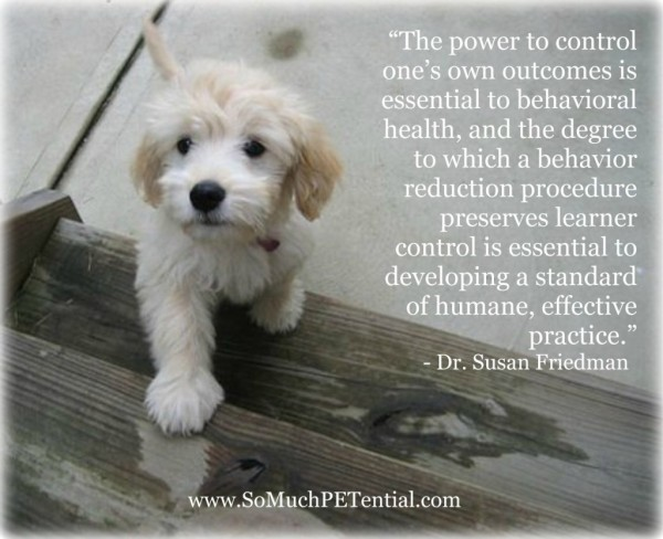 The power to control ones own outcomes is essential to behavioral health