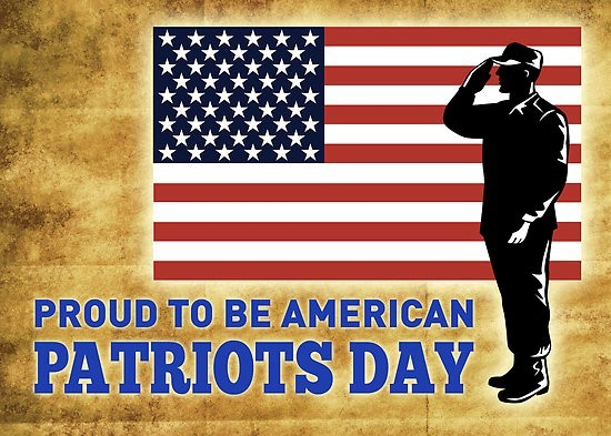 Proud to be an american soldier saluting flag patriots day
