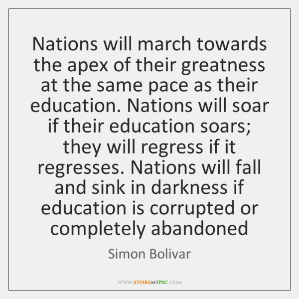 Nations will march towards the apex of their greatness at the same ...