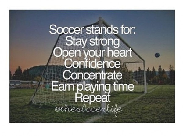 Soccer stands for stay strong open your heart confidence earn playing time repeat