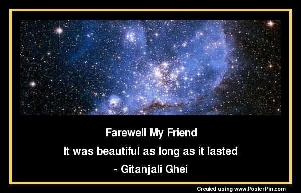 Farewell my friend it was beautiful as long as it lasted gitanjali ghei