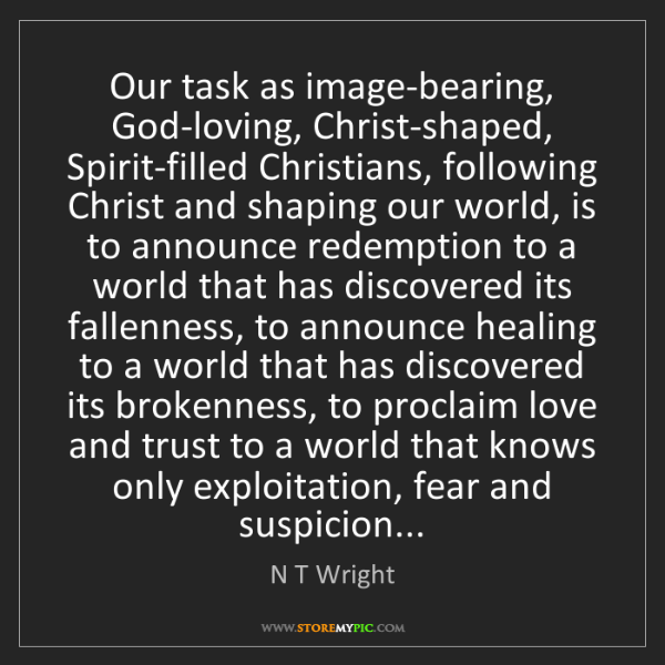 N T Wright: Our task as image-bearing, God-loving, Christ-shaped,...