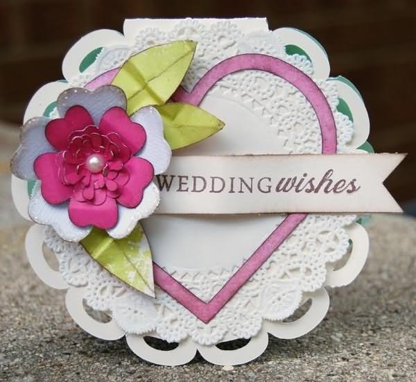 Wedding wishes beautiful heart shaped greeting card