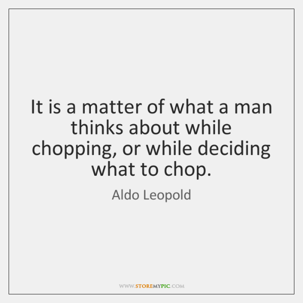 It is a matter of what a man thinks about while chopping, ...