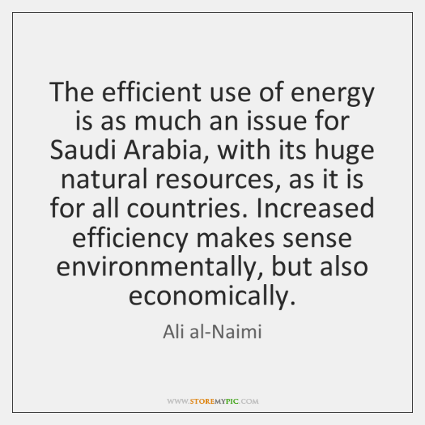 The efficient use of energy is as much an issue for Saudi ...