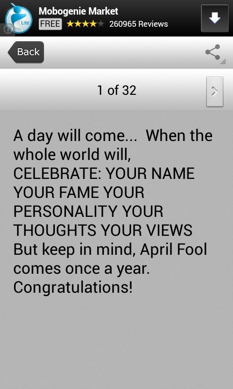 A day will come when the while world will celebrate