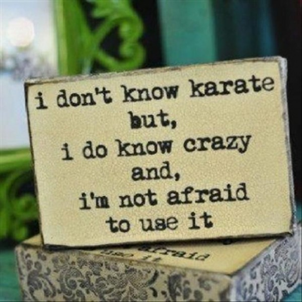 I dont know karate but i do know crazy and im not afraid to use it