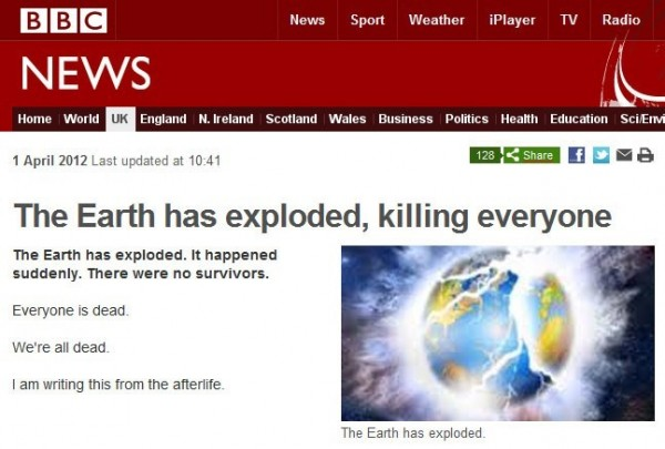 The earth has exploded killing everyone