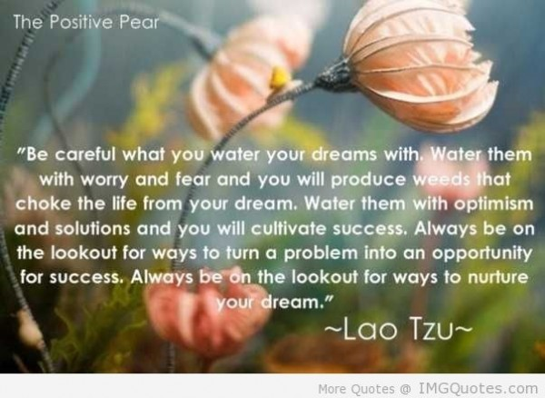 Be careful what you water your dreams with water them with worry and fear and you will produce weeds