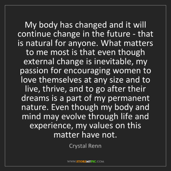 Crystal Renn: My body has changed and it will continue change in the...