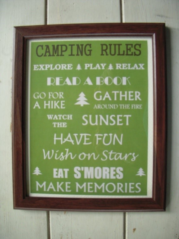 Camping rules explore play relax read a book go for a hike