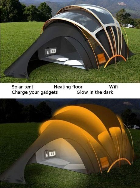 Solar tent heating flour wi fi charged your gadgets