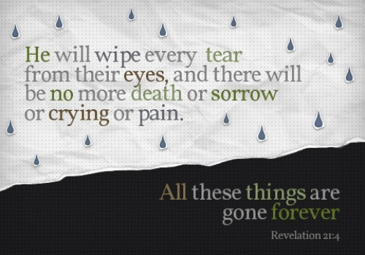 He will wipe every tears from their eyes and there will be no more death or sorrow or cr