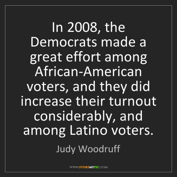 Judy Woodruff: In 2008, the Democrats made a great effort among African-American...