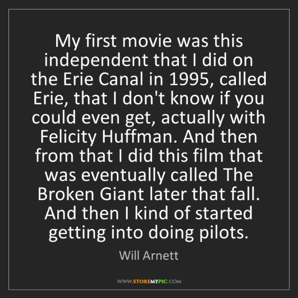 Will Arnett: My first movie was this independent that I did on the...