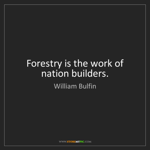 William Bulfin: Forestry is the work of nation builders.