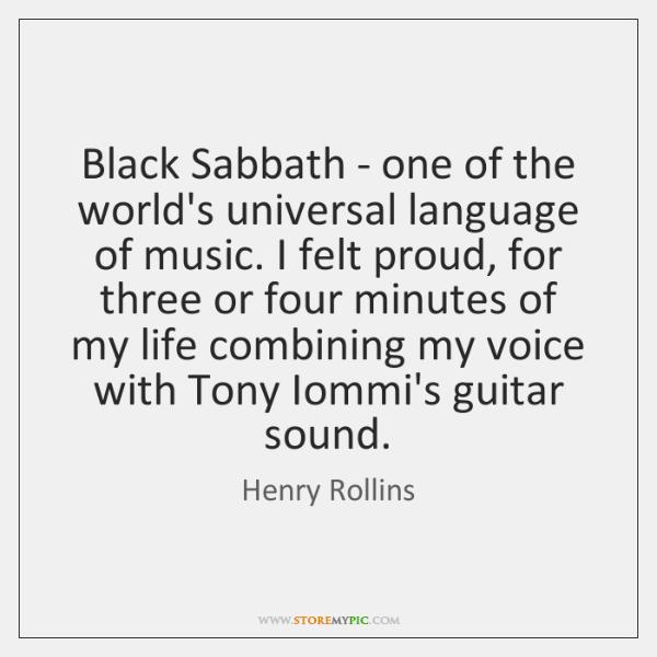 Black Sabbath - one of the world's universal language of music. I ...