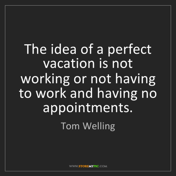 Tom Welling: The idea of a perfect vacation is not working or not...