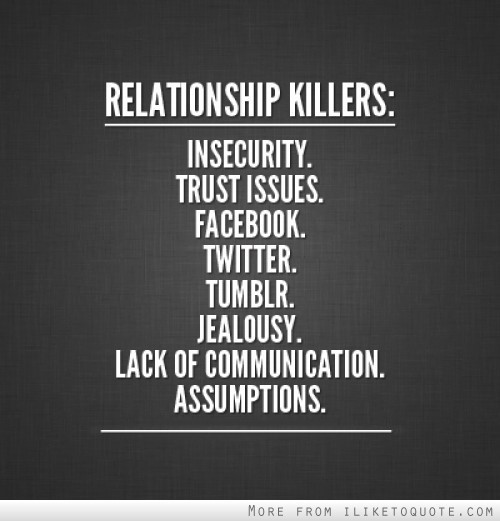 Relationship killers in security trust issues facebook twitter tumbllr jealousy lack