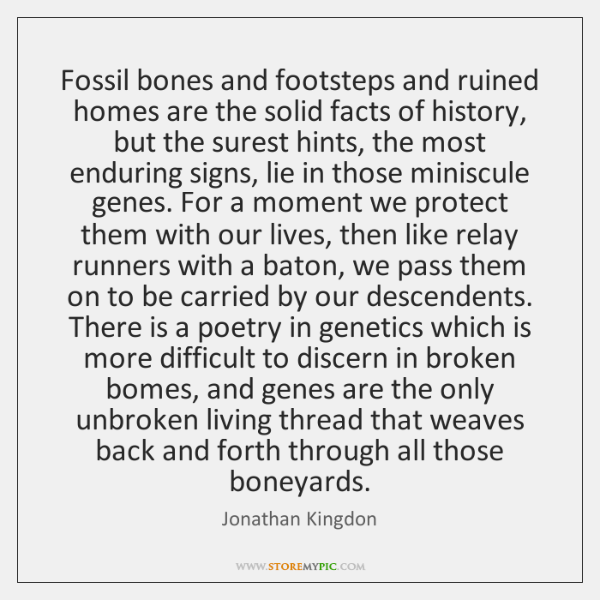 Fossil bones and footsteps and ruined homes are the solid facts of ...