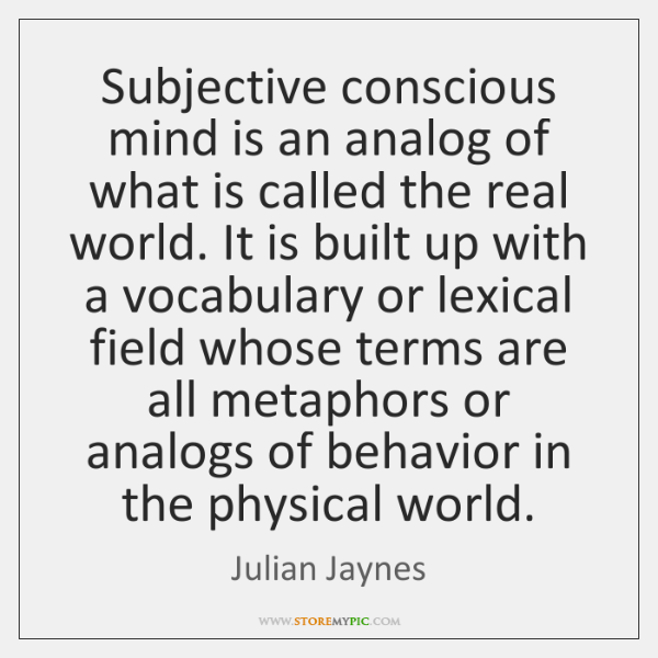 Subjective conscious mind is an analog of what is called the real ...