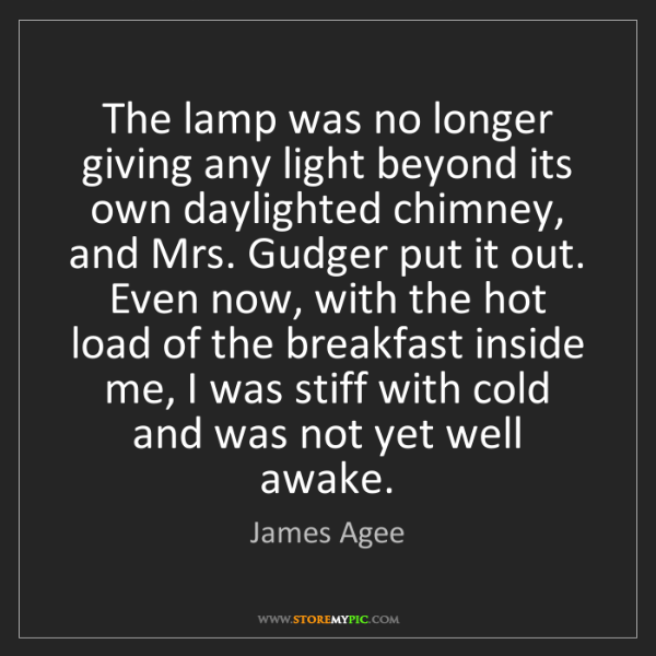 James Agee: The lamp was no longer giving any light beyond its own...