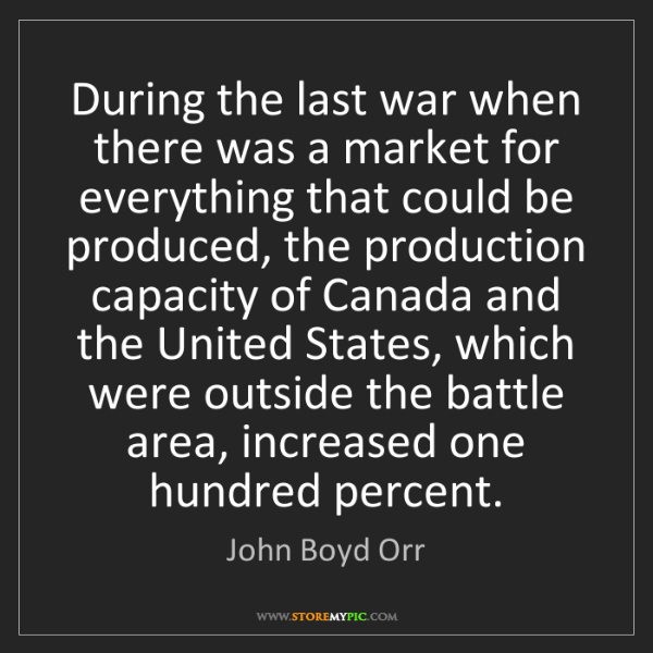 John Boyd Orr: During the last war when there was a market for everything...