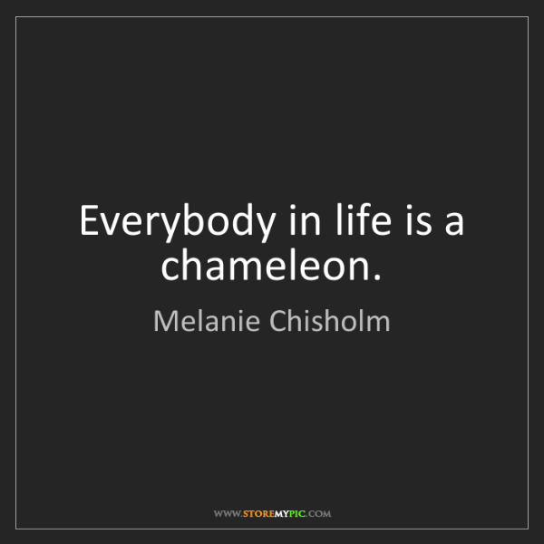 Melanie Chisholm: Everybody in life is a chameleon.