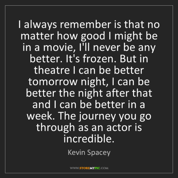 Kevin Spacey: I always remember is that no matter how good I might...