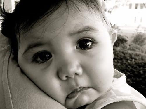 Sad cute baby girl