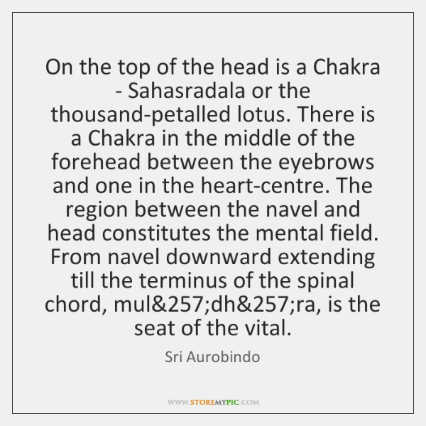 On the top of the head is a Chakra - Sahasradala or ...