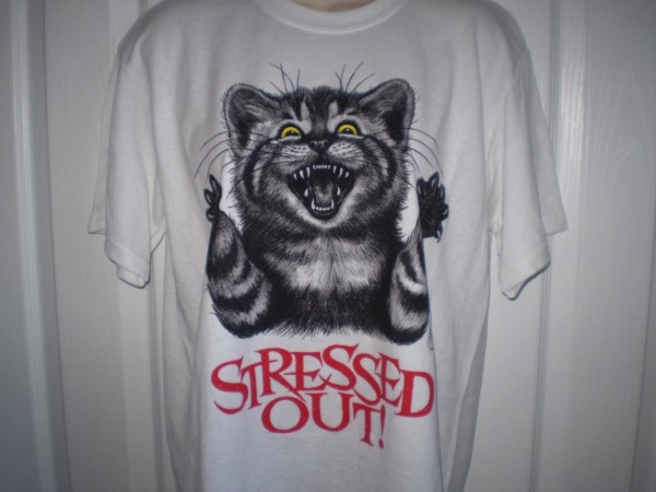 Stressed out cat on t shirt