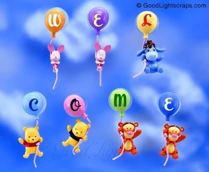 Welcome beautiful balloons text