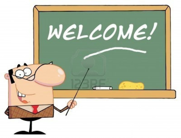 Welcome written on blackboard