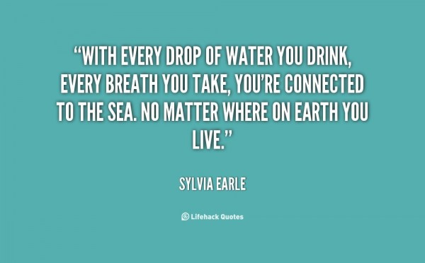 With every drop of water you drink every breath you take youre connected to the sea no matter where