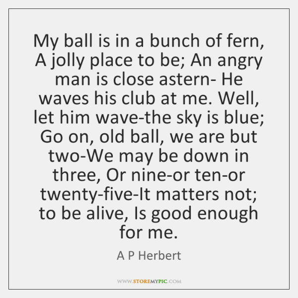 My ball is in a bunch of fern, A jolly place to ...