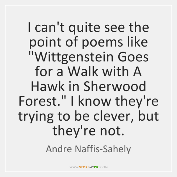 """I can't quite see the point of poems like """"Wittgenstein Goes for ..."""