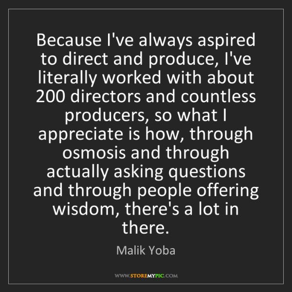 Malik Yoba: Because I've always aspired to direct and produce, I've...