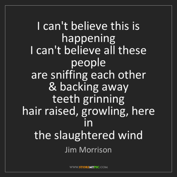Jim Morrison: I can't believe this is happening   I can't believe all...