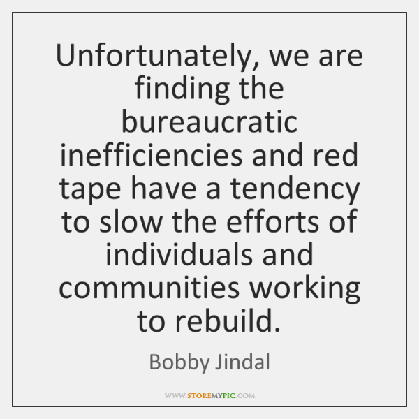 Unfortunately, we are finding the bureaucratic inefficiencies and red tape have a ...