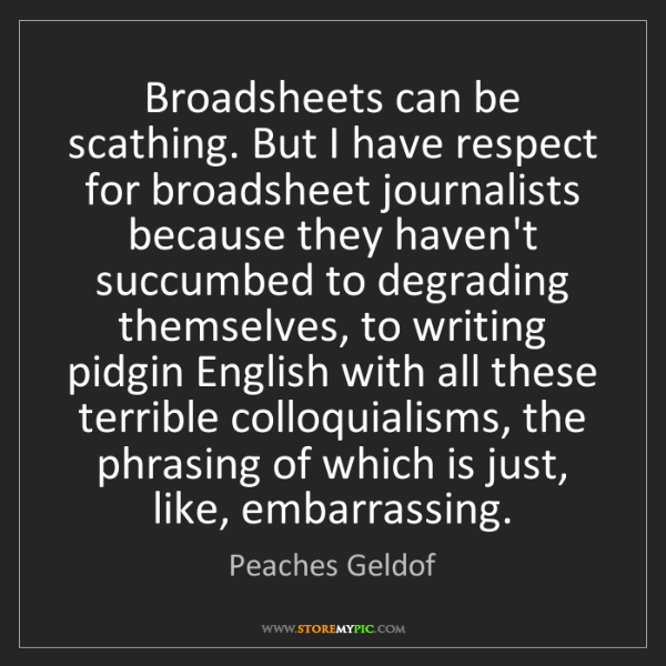 Peaches Geldof: Broadsheets can be scathing. But I have respect for broadsheet...